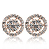 Plaqué or blanc Elengant CZ Rhinestone Engagement Earrings goujon