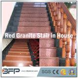 Escada de granito vermelho chinês / passo / piso para interior