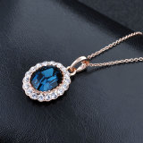 Collar superior del cristal plateado del oro de Rose de la venta de la joyería de la manera