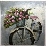 Bicicletta con le pitture di arte della parete della tela di canapa del cestino del fiore direttamente dal workshop