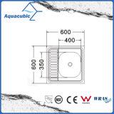Square Fregadero de acero inoxidable con placa de vaciado (AEC6064)