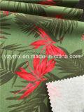 Tecido acabado 100% Algodão Twill Peach Deep Green Ground com folha e flor vermelha