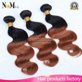 Cabelo humano barato 4 de 100g pacotes do cabelo brasileiro dos pacotes um dia que envia o Weave do cabelo humano de dois tons
