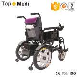 Foldable 백레스트를 가진 Topmedi 경제적인 기본적인 폴딩 전자 휠체어