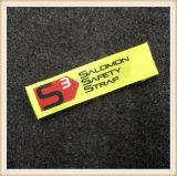 Etiquetas tecidas feitas sob encomenda da etiqueta confidencial da dobra da extremidade do poliéster para a roupa