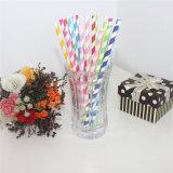 Pajitas de papel de rayas de color azul claro para la fiesta de cumpleaños para niños