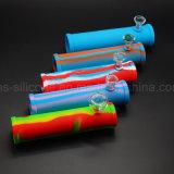Fumarrodillo de silicona personalizadas mano tubo Tubo de goma con el tazón de vidrio para la venta al por mayor