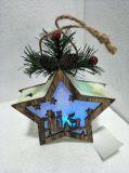 Decorazione d'attaccatura della guarnizione della filiale di albero della renna & della stella di natale dell'indicatore luminoso verde di legno LED