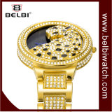 Belbi 형식 호화스러운 표범 다이아몬드 여자 손목 시계 합금 숙녀 시계