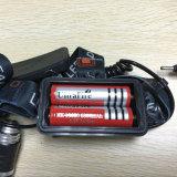 2*18650 Battery+ Lader USB Navulbare van de LEIDENE CREE van 5000lm Xml 3 T6 de Koplamp van het Aluminium van het Flitslicht Visserij van de Koplamp