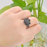Ring van de Vinger van de Legering van de Zwarte van het Bergkristal van de bloem Vrouwen van het Kristal de Kunstmatige