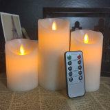 A cera real Candles a flama artificial do diodo emissor de luz a pilhas