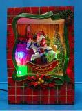 """Décoration de Noël 9""""conduit Santa peinture scène avec le train en rotation avec 8 chansons de Noël"""