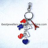Cores Personalizadas esmaltadas e coração Torre Eiffel Paris Loja keyring-Metal