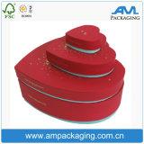 En forma de corazón rojo rígido de cartón de embalaje de chocolate Caja con ventana PVC