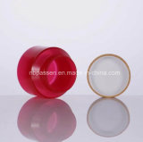 أحمر [بّ] بلاستيكيّة مستحضر تجميل وعاء صندوق مرطبان مع غطاء خيزرانيّ ([بّك-بس-046])
