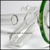 卸売のためのインラインPerc 18.8mmの共同サイズの緑のガラス水煙る管水ぎせる13.5インチの