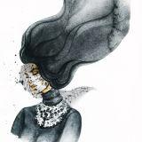 漫画マスクの女性の水彩画の芸術プリント