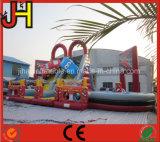 Diapositiva inflable del obstáculo del tema del coche del enchufe de fábrica para el juego del deporte al aire libre