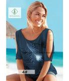 Европейским горячим тенниска женщин сбывания напечатанная пером без бретелек короткая Sleeved