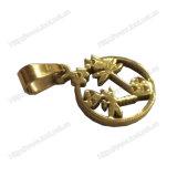 Edelstahl-Gold überzogenes Kreuz und Juses hängende Schmucksache-Halskette (IO-st00B)