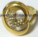 方法宝石類18kの金によってめっきされるマルチガラス石造りのリング