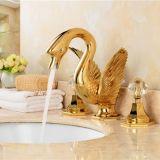 Goldener überzogener Soild Messingbadezimmer-Bassin-Hahn