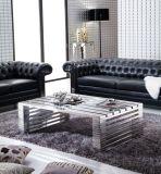 Botão de couro preto sofá 3-seaters, as pernas de aço inoxidável Sofá Yh-136