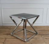 스테인리스 검정 유리제 위쪽 테이블 커피용 탁자