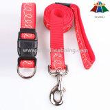 Sangle de haute qualité du rouge 15mm de Chaud-Vente avec la ligne blanche polyester/laisse en nylon et collier réglable