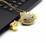 Привод вспышки USB шаржа ювелирных изделий кота Pendrive Janpan кристаллический