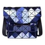 青いPUの斜方形の幾何学的な掛け金の男女兼用のハンド・バッグ(M005-3)