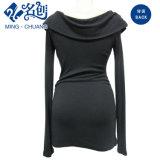 سوداء [لونغ-سليف] [رووند-كلّر] مرنة [كلوس-فيتّينغ] مثيرة نمط سيدات ثوب