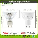 Projector frio branco morno do diodo emissor de luz do branco do mercado GU10 6W Dimmable de América com Ce RoHS