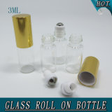 roulis en verre de parfum vide du cylindre 3ml mini sur la bouteille