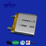 3.7V 380mAh precio de fábrica de polímero de litio de la batería recargable
