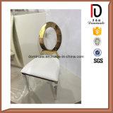 現代楕円形の背部結婚式のローズの金ホテルのレストランの生存食堂の家具のステンレス鋼の椅子