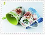 caneca de café cerâmica impressa flor de 12oz Rosa com colher
