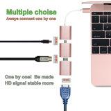 小型Dp 4k@30Hz、HDMI 4k@30HzおよびVGA 2k@30Hzが付いているアルミ合金Dismountable 3部分のへのUSB-Cアダプターの