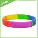 Fascia di gomma personalizzata del braccialetto di Segement del Rainbow