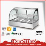 La nourriture plus chaude Showcase/réchauffement de verre courbé Displayer /HW-838-3 plus chaud en acier inoxydable