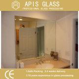 Verre en miroir en argent avec bord poli pour salle de bain, Miroir de lavabo