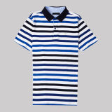 Polo rayé de T-shirt de Mens de coton de collier classique de polo