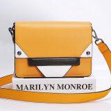 O contraste do saco de ombro do couro genuíno da forma colore a bolsa Emg5185 das mulheres dos sacos do estilingue