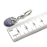 Pendente de cristal roxo do encanto da coruja do esmalte para o bracelete da colar de DIY