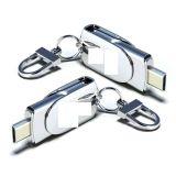 Disco instantâneo do USB do costume com corrente chave, movimentação do flash do USB da tira do metal