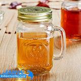 De Fles van het Glas van de Container van de drank met Handvat