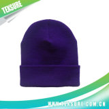 Sombrero hecho punto llano unisex de acrílico del invierno del color púrpura (044)