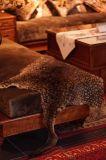 Роскошное оформление меха печати Snow Leopard тонами кожи кенгуру