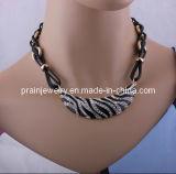 Joyas de moda verano Collar de cuero negro, chapado en oro amarillo de las cadenas con aleación de Estrás regalo para mujer